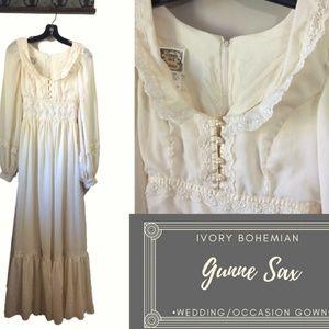 70's Boho Gunne Sax Ivory Wedding/Occasion Gown s9